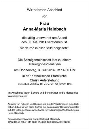 Die Schulgemeinschaft nimmt Abschied von Frau Hainbach – Trauergottesdienst am 3. Juli 2014