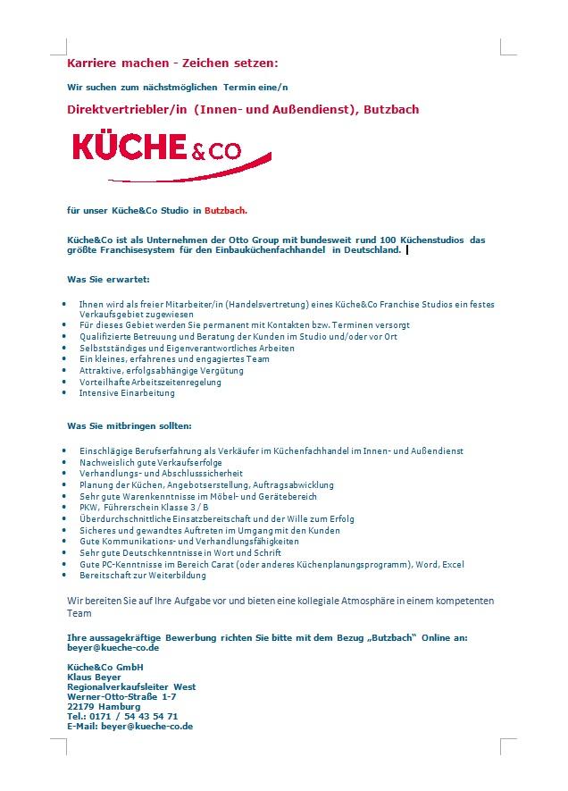 Direktvertriebler/in für Küche & Co in Butzbach - MÖFA BLOG - Der ...