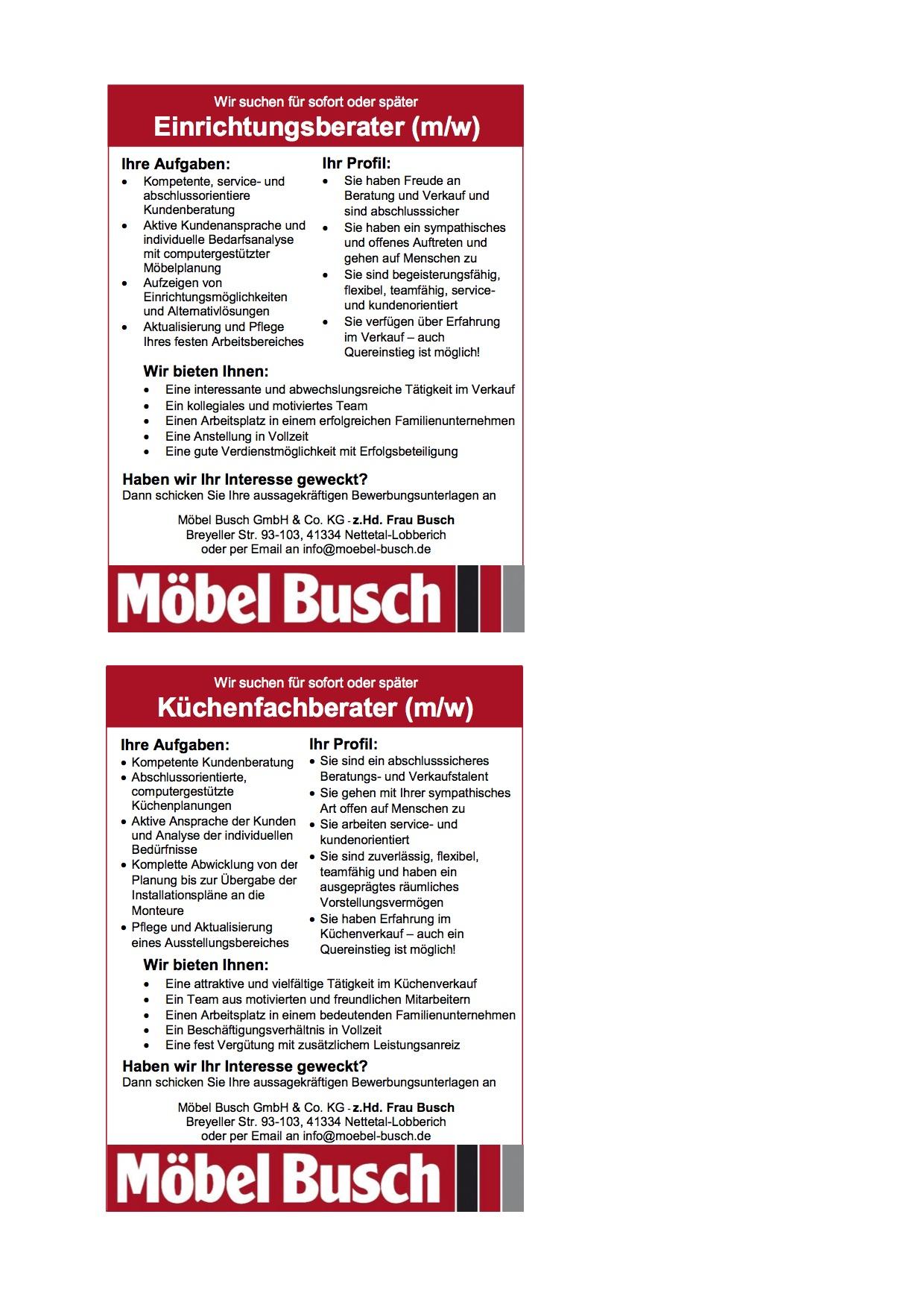 Einrichtungsberater Und Küchenfachberater Mw Möbel Busch Möfa