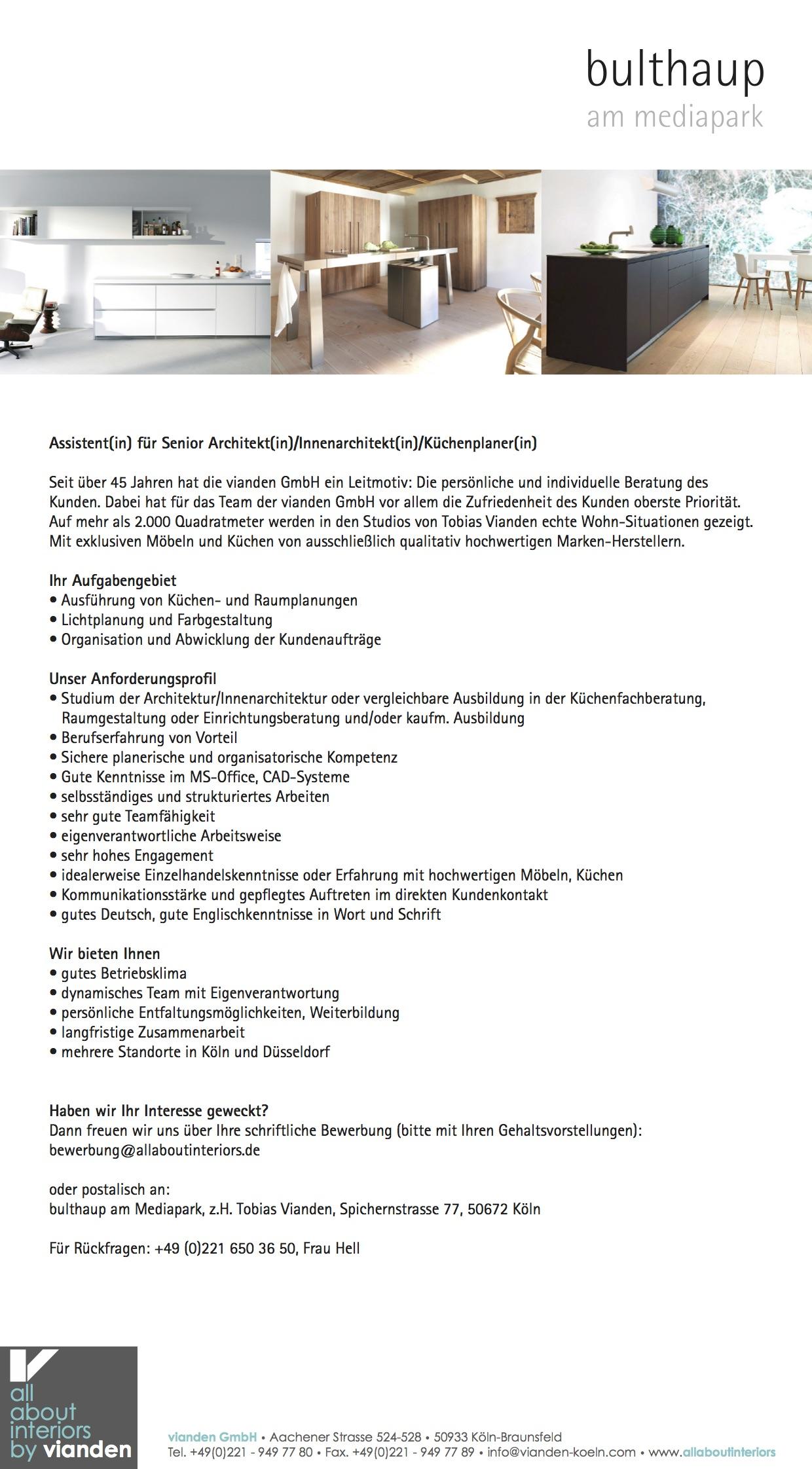 Assistentin für Senior Architektin/Innenarchitektin ...