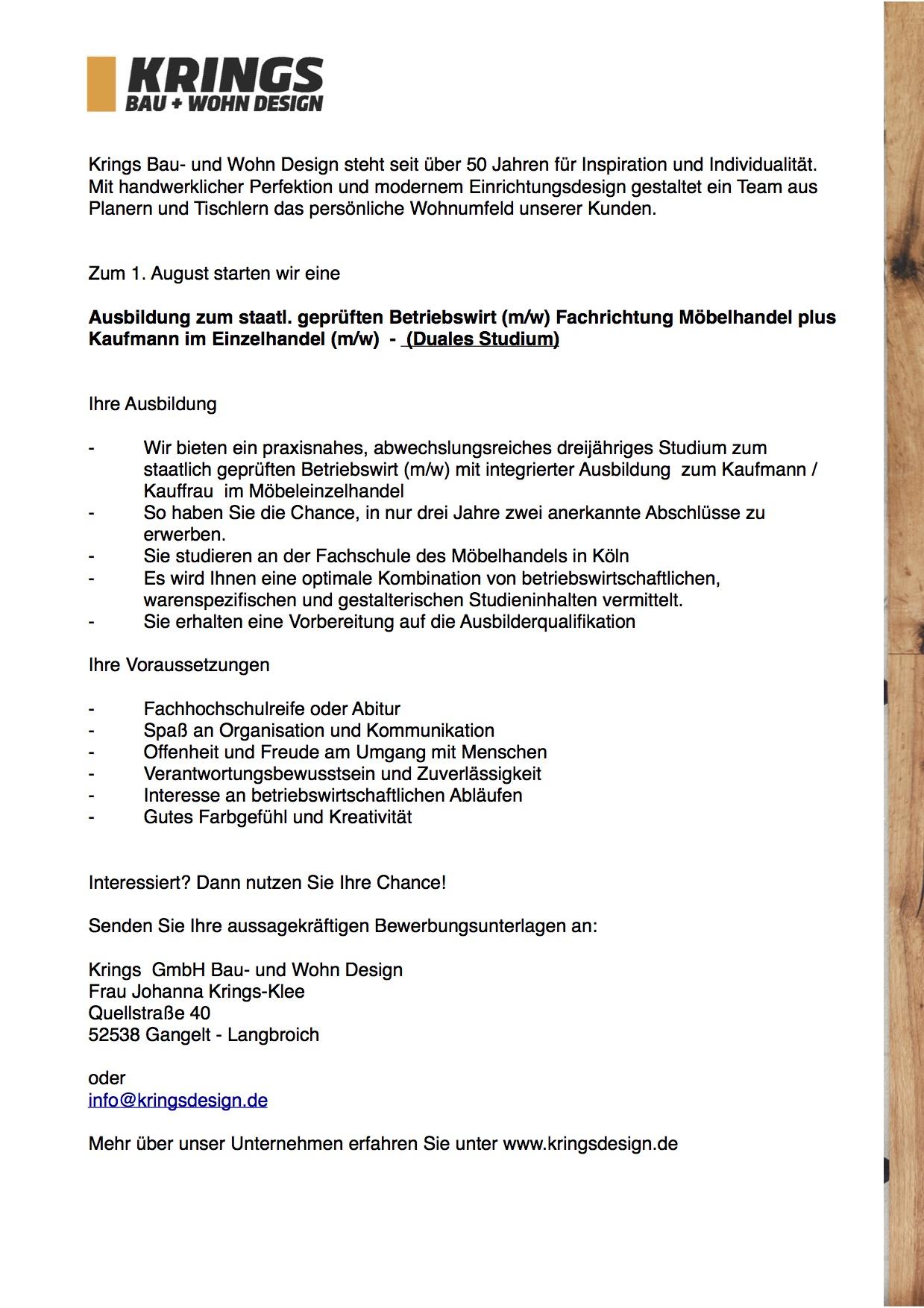 Ausbildung Staatl Geprüft Betriebswirt Fachrichtung Möbelhandel