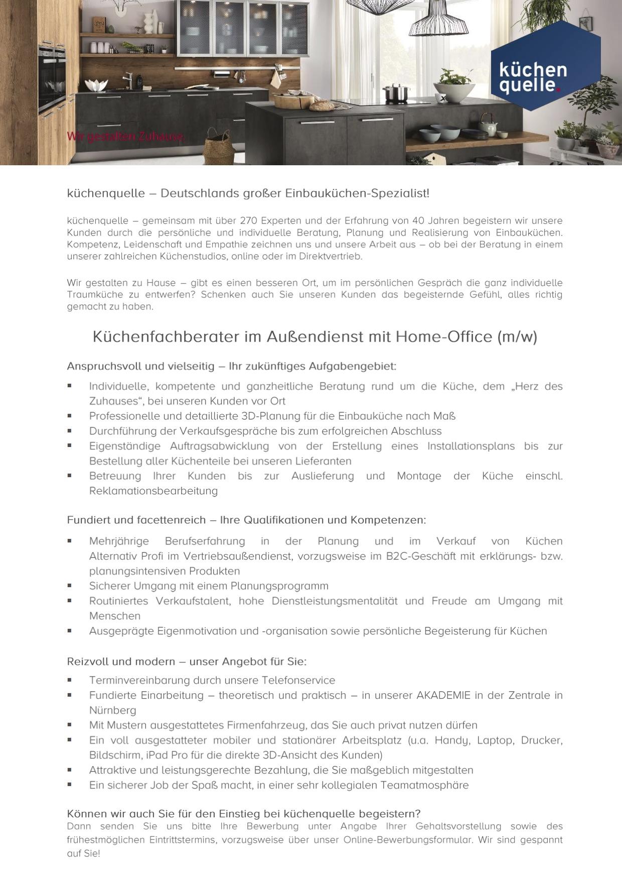 Kuchenfachberater Im Aussendienst Mit Home Office M W 180926 Mofa